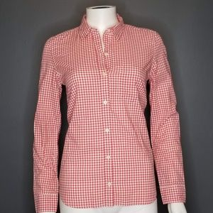 GAP Red and white gingham print button up NWT